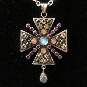 Vintage Nicky Butler multi stone cross necklace